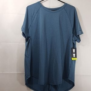 Women xl greenish gray top short sleeve 025